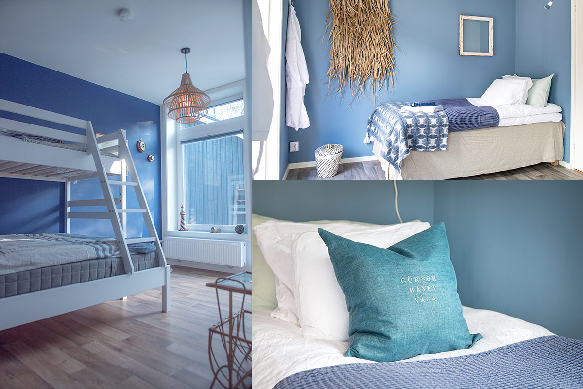 Vårt blåa rum på Villa Surf Garden som är inspirerat av hav, vågor och kitesurfing.