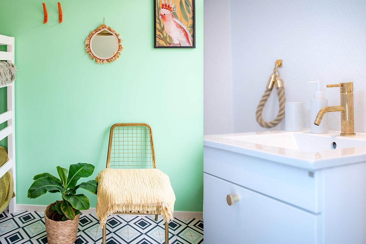 Vårt gröna rum med härliga färger och motiv.