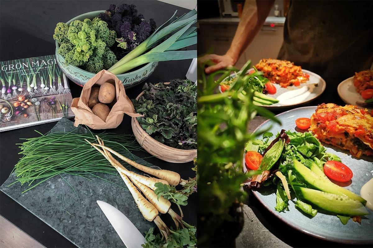 Närodlade grönsaker från Ugglarps grönt är en självklarhet i våra rätter.